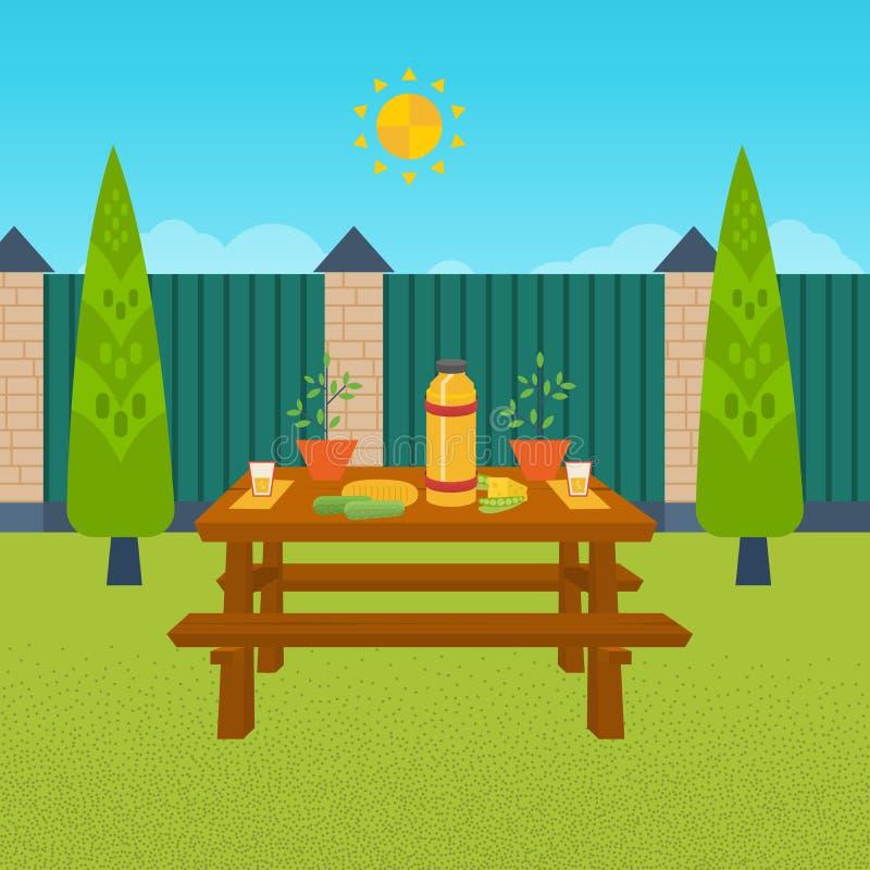 Comida campestre del verano Vector con el alimento y la bebida stock de ilustración