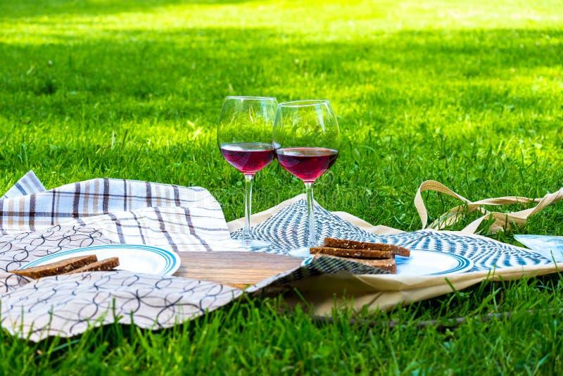 Comida campestre en la hierba con el zumo y las amapolas de naranja de la fruta imagen de archivo libre de regalías