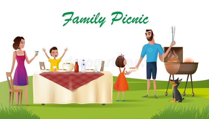 Comida campestre feliz de la familia en vector verde de la historieta del préstamo ilustración del vector
