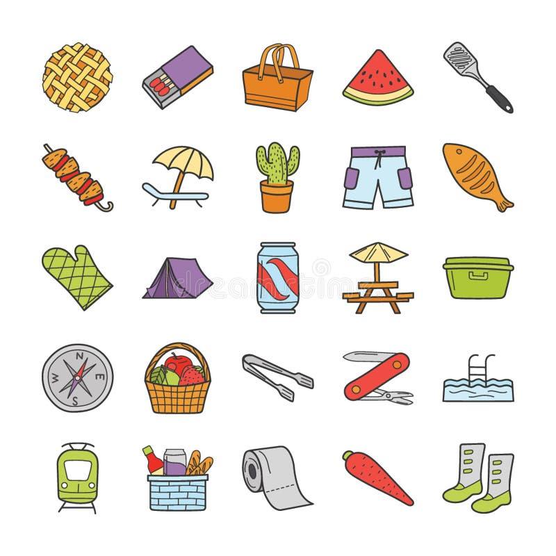 Comida campestre, viaje, colección de los iconos de los días de fiesta libre illustration