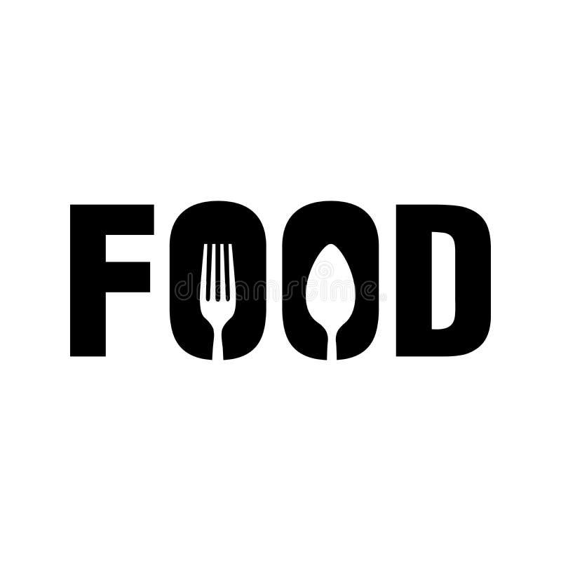 COMIDA con el símbolo Logo Design de la cuchara y de la bifurcación stock de ilustración