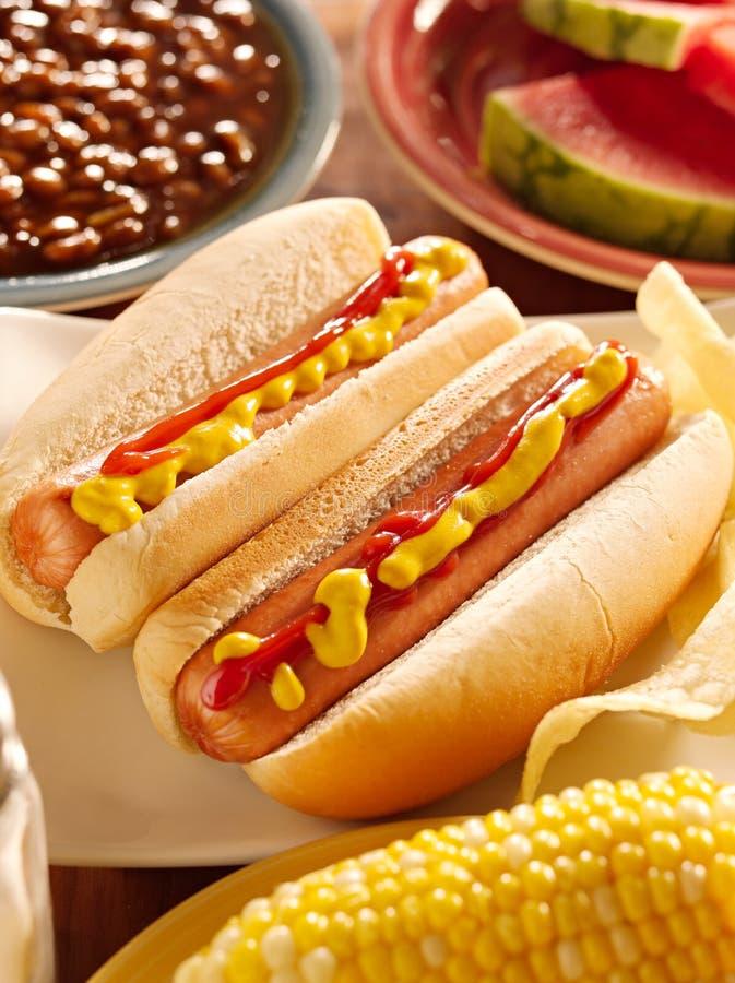Comida con los perritos calientes foto de archivo libre de regalías