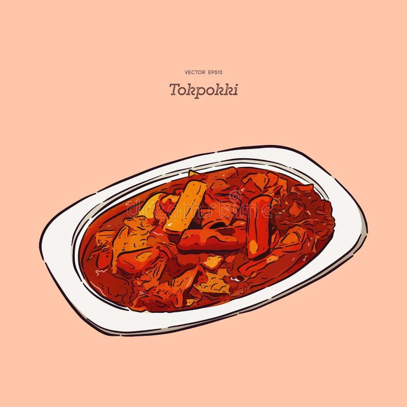 Comida coreana preferida de Tokpokki, vector del bosquejo del drenaje de la mano libre illustration