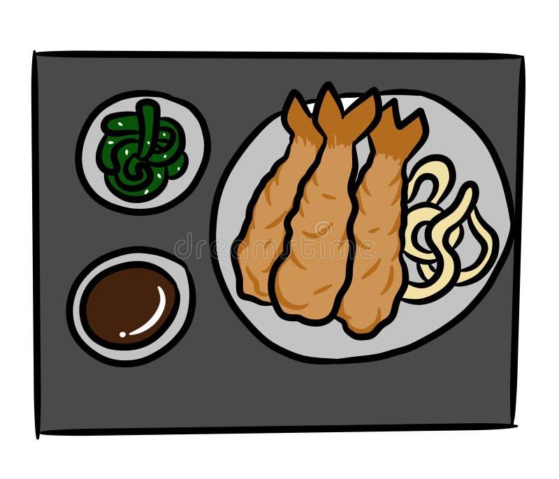 Comida curruscante de Japón del camarón de la historieta en el fondo blanco libre illustration