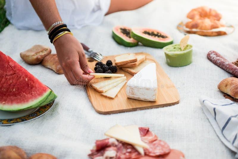 Comida de almoço de piquenique ao ar livre Queijo em cartão de corte, guacamole, melancia e muita variedade de alimentos sãos fotos de stock royalty free