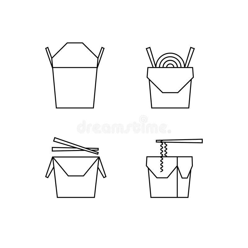 Comida de Chineese en la línea iconos del vector de las cajas Cajas, palillos, tallarines, soba, udon imagen de archivo libre de regalías
