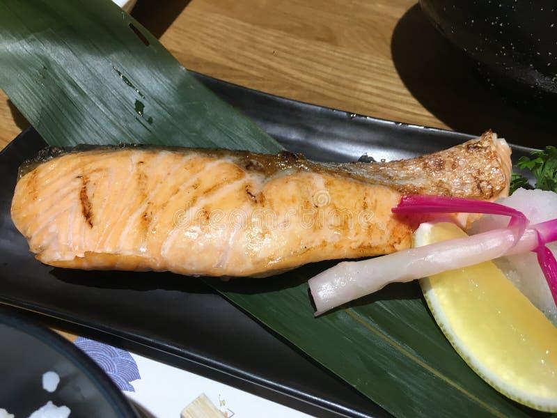 Comida de color salmón de Japón foto de archivo