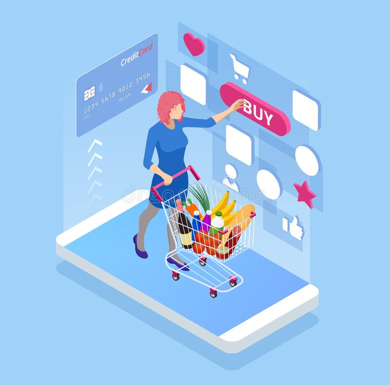 Comida de compra isométrica en línea, concepto del e-supermercado Teléfono elegante con compras en línea libre illustration