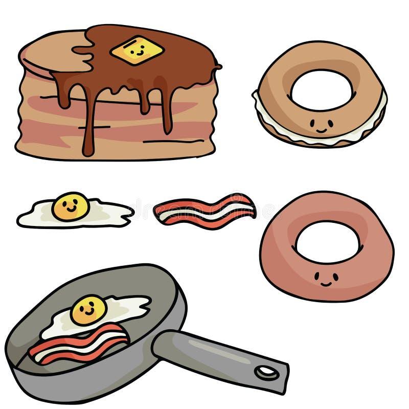 Comida de desayuno del vector de Kawaii con la cara sonriente feliz libre illustration