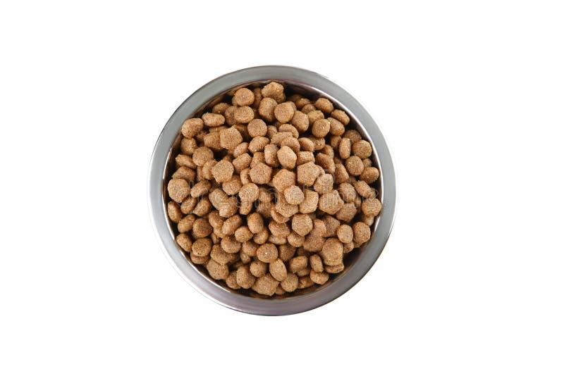 Comida de gato seca na bacia foto de stock royalty free