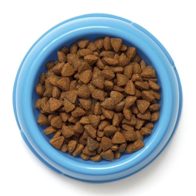 Comida de gato seca na bacia azul isolada no branco de cima de imagem de stock