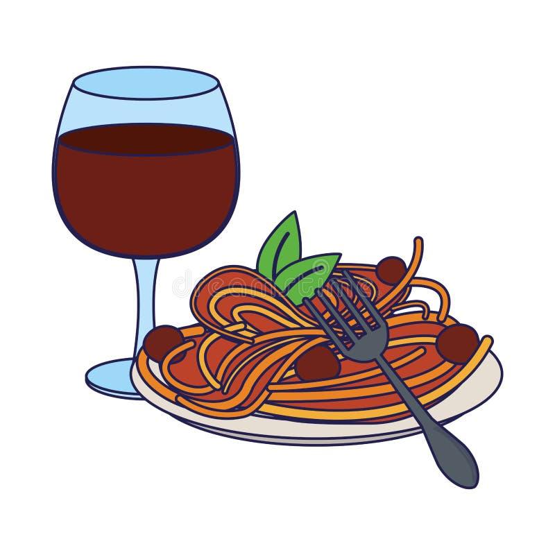 Comida de Goumet con las l?neas azules de la taza del vino stock de ilustración