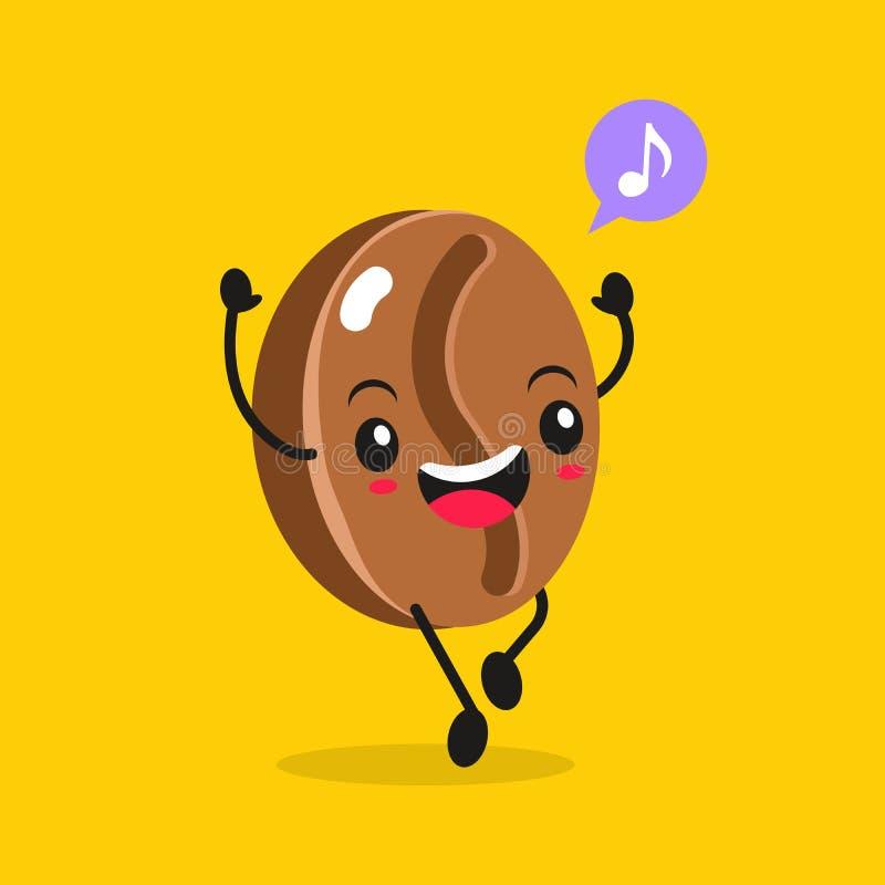 Comida de Kawaii Grano de café de la historieta del vector Carácter asiático divertido feliz para la publicidad del restaurante,  ilustración del vector