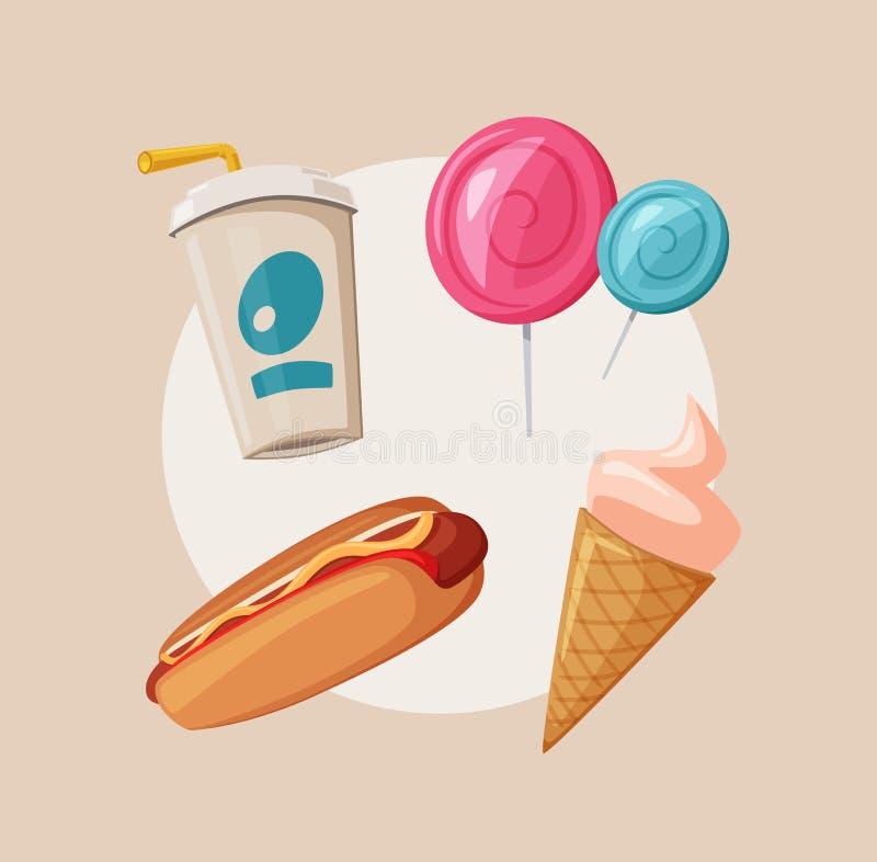 Comida de la calle o camión del vendedor del vendedor ambulante de los alimentos de preparación rápida Ilustración del vector de  stock de ilustración