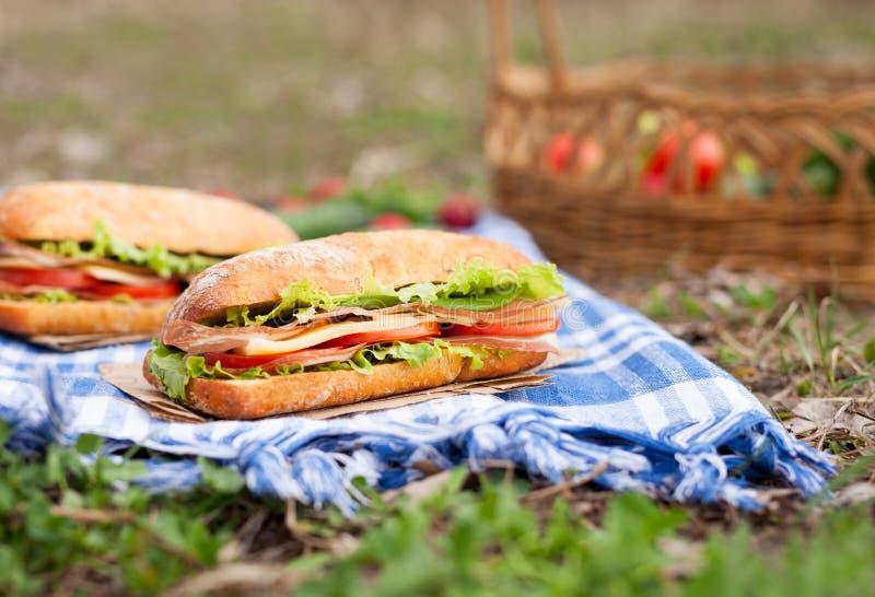Comida de la comida campestre de la forma de vida del bocadillo del baguette de Ciabatta con tocino imagen de archivo