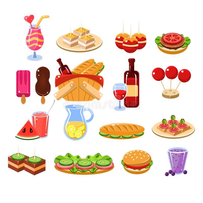 Comida de la comida campestre y sistema de la bebida libre illustration