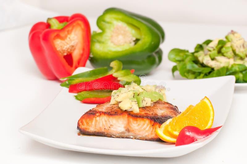 Comida de la dieta de los salmones imagen de archivo