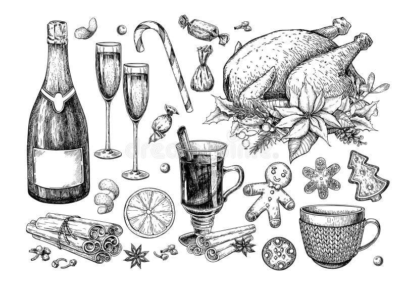 Comida de la Navidad y sistema tradicionales de la bebida El día de fiesta trata vector ilustración del vector