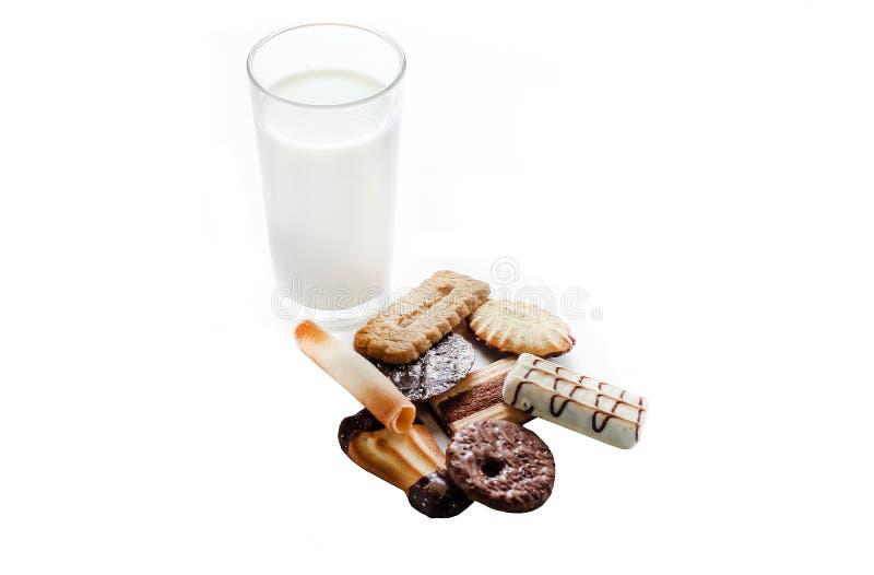 Comida de las galletas de la leche imágenes de archivo libres de regalías
