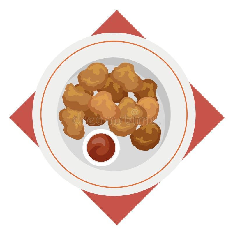Comida de las pepitas de pollo Bocado curruscante con la salsa libre illustration