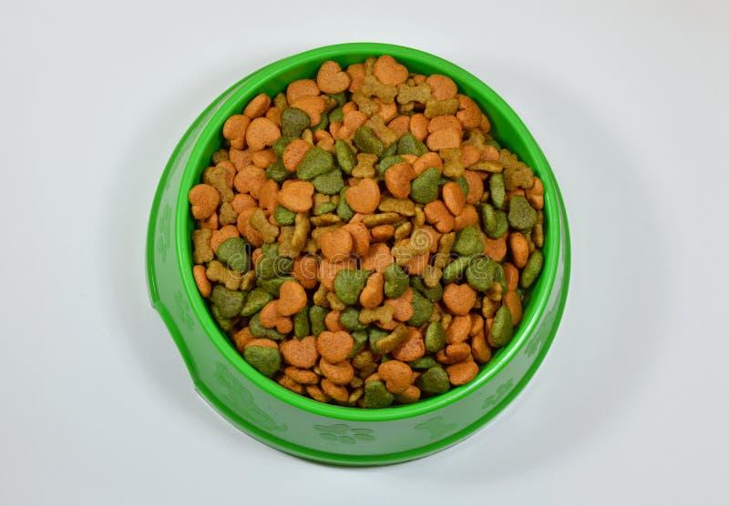 Comida de perro en cuenco verde foto de archivo