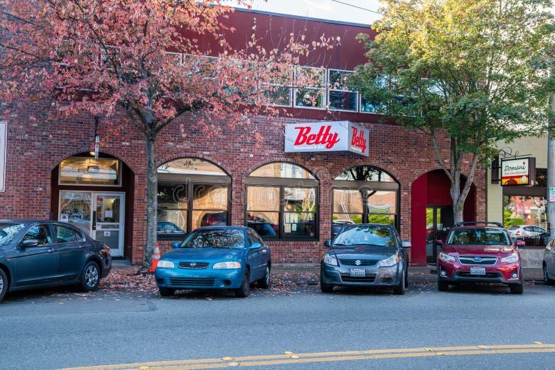 Comida de servicio del estilo de los bistros de Betty Restaurant y de la barra fotografía de archivo libre de regalías