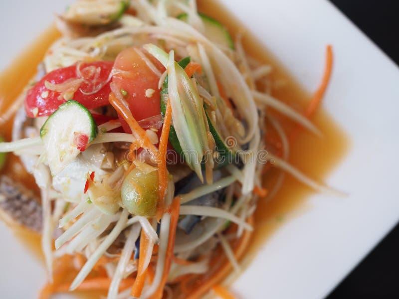 Comida de Somtum o ensalada tailandesa de la papaya, Esan& x27; comida de s fotografía de archivo
