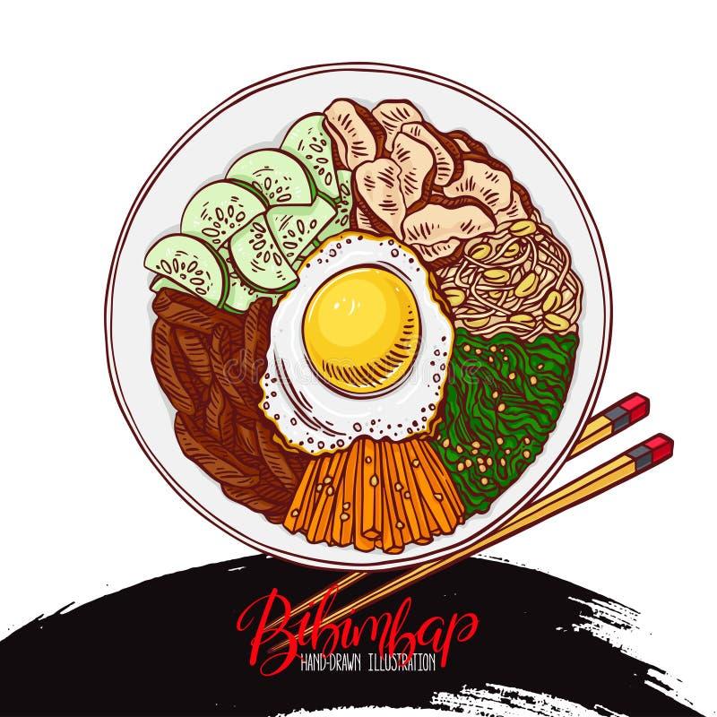 Comida del coreano del Bibimbap stock de ilustración