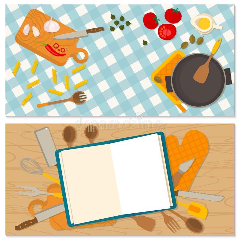 Comida del diseño y bandera planas el cocinar ilustración del vector