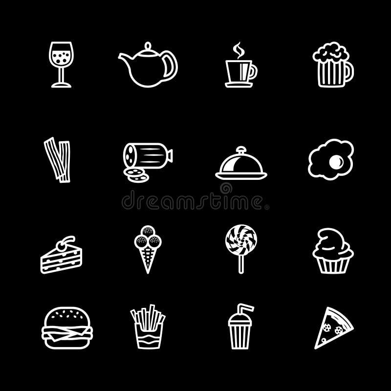 Comida del esquema de dieciséis blancos y sistema del icono de la bebida ilustración del vector