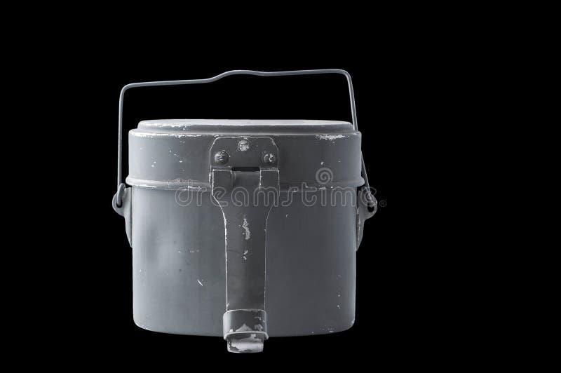Comida del frasco y contenedor de almacenamiento sucios militares viejos de la bebida, aislante imagen de archivo libre de regalías