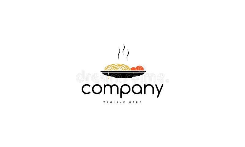 Comida del italiano de las pastas Logotipo del vector que representa una placa con las pastas y la salsa libre illustration