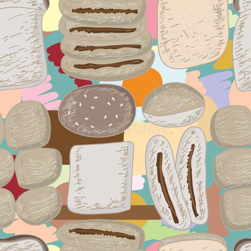Comida del pan que dibuja el modelo inconsútil en colores pastel ilustración del vector