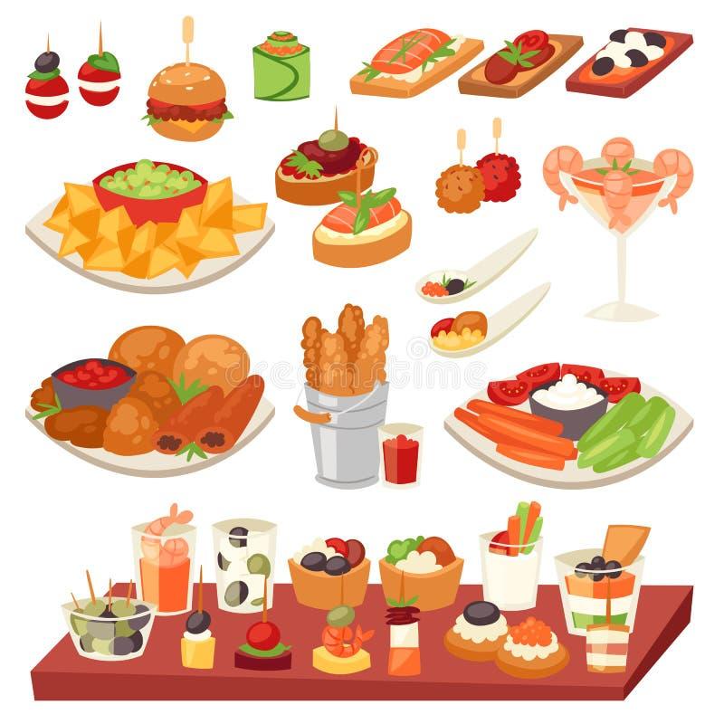 Comida del vector del aperitivo sistema del ejemplo y de la comida o del arrancador y del canape apetitosos del bocado del aperit libre illustration