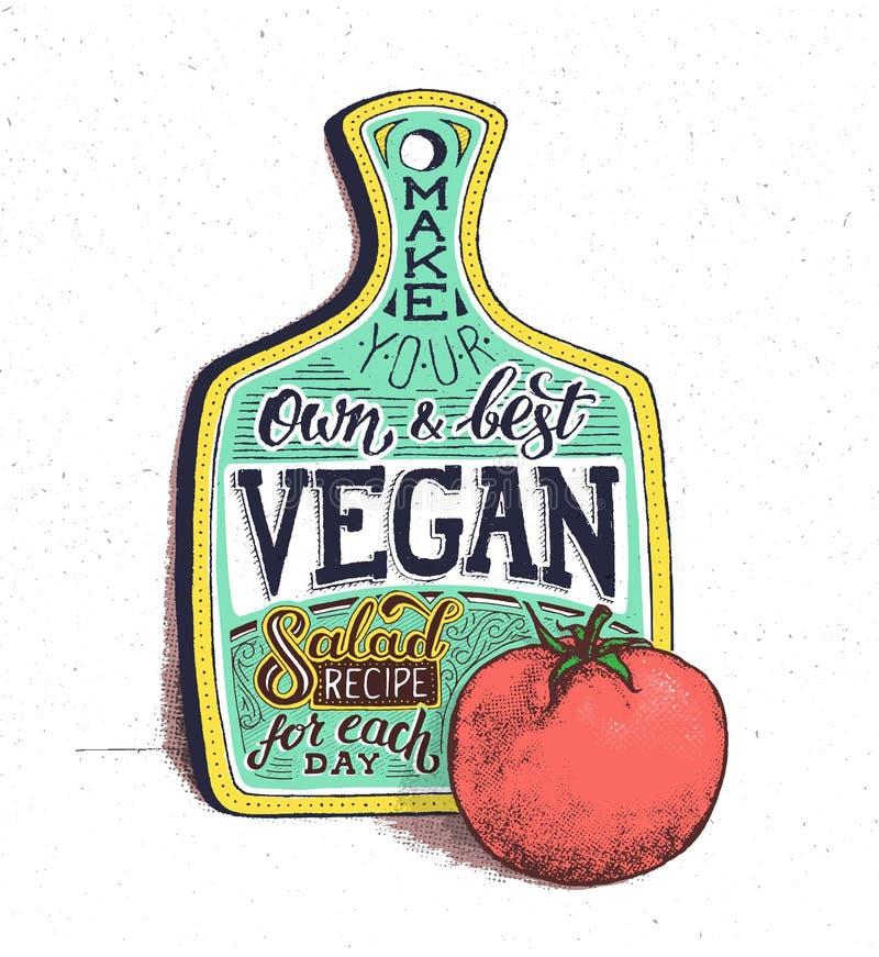 Comida del vegano Cita de motivación Cartel de la vendimia ilustración del vector