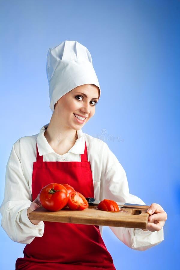 Comida del vegetariano de la oferta de Cheef imagen de archivo