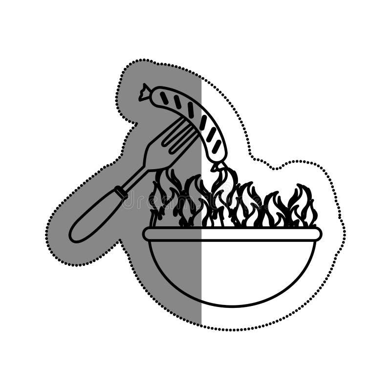 comida deliciosa de la parrilla del Bbq stock de ilustración