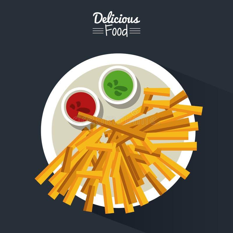 Comida deliciosa del cartel en fondo negro con el plato de fritadas con las salsas stock de ilustración