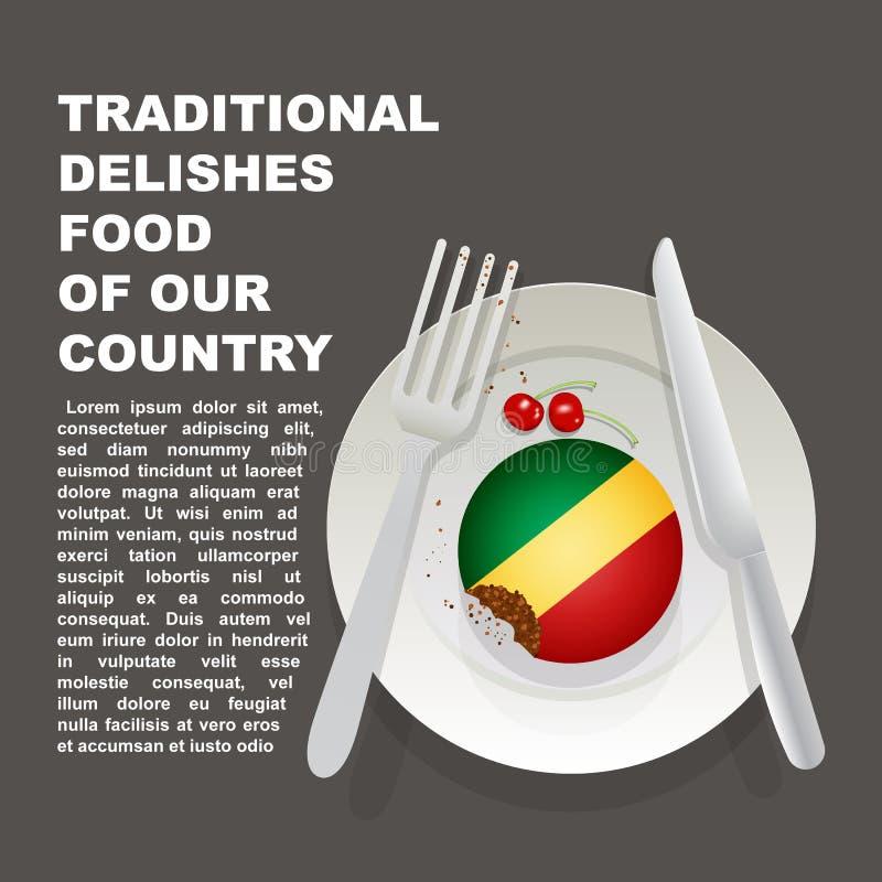 Comida deliciosa tradicional del cartel del país de Congo Postre nacional africano Torta del ejemplo del vector con la bandera na libre illustration