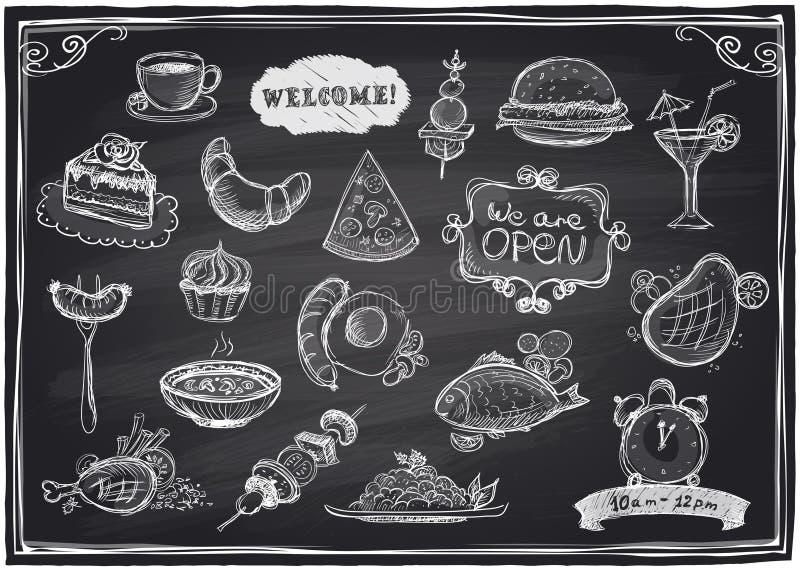Comida dibujada mano y bebidas clasificadas gráficas ilustración del vector