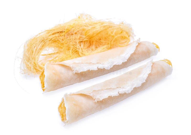 Comida dulce tailandesa del caramelo de algodón de Roti Saimai aislada en el CCB blanco fotos de archivo libres de regalías