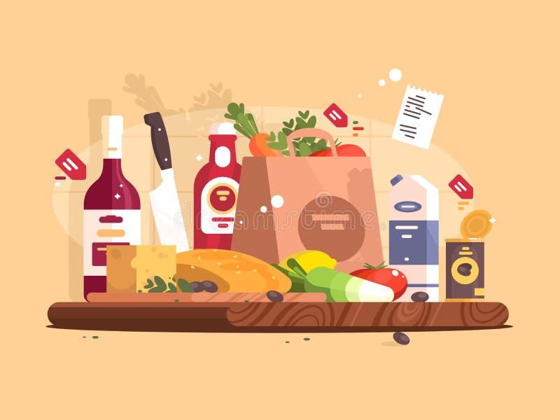 Comida e ingredientes para cocinar stock de ilustración