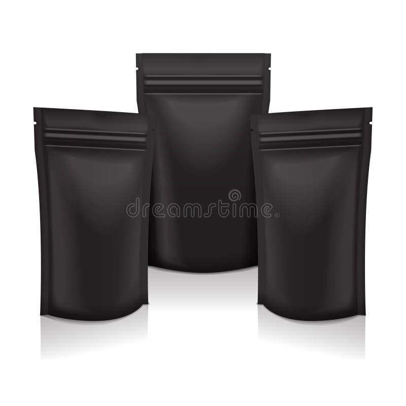 Comida en blanco negra de la hoja o bolso cosmético de la bolsita de la bolsa del paquete que empaqueta con la cremallera Mofa ai stock de ilustración