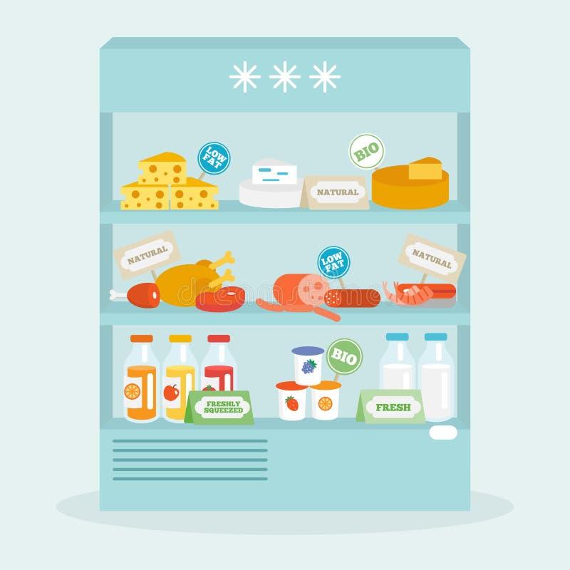 Comida en la colección del refrigerador stock de ilustración