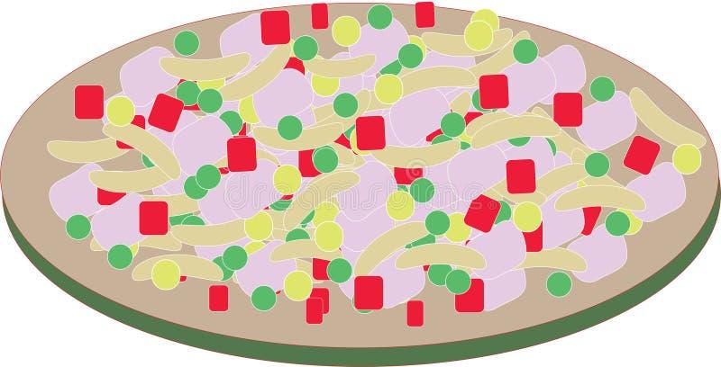 Comida en un ejemplo del plato stock de ilustración