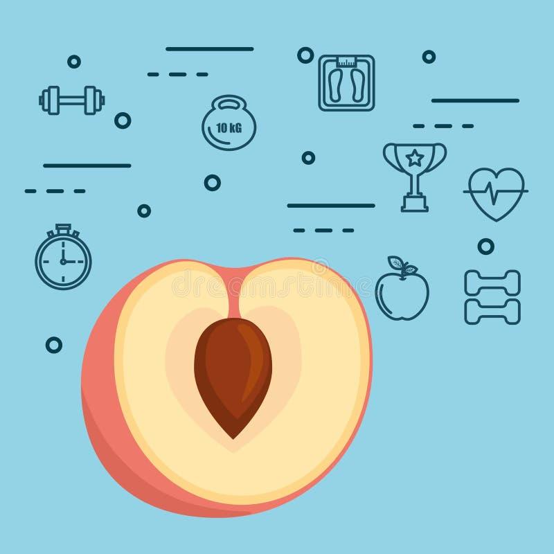 Comida fresca del vegetariano de la manzana stock de ilustración