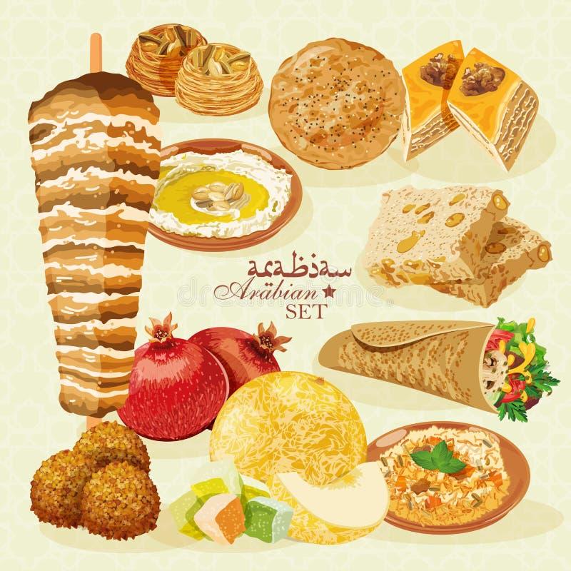 Comida Halal árabe Con Los Pasteles Y La Fruta Ilustración del ...