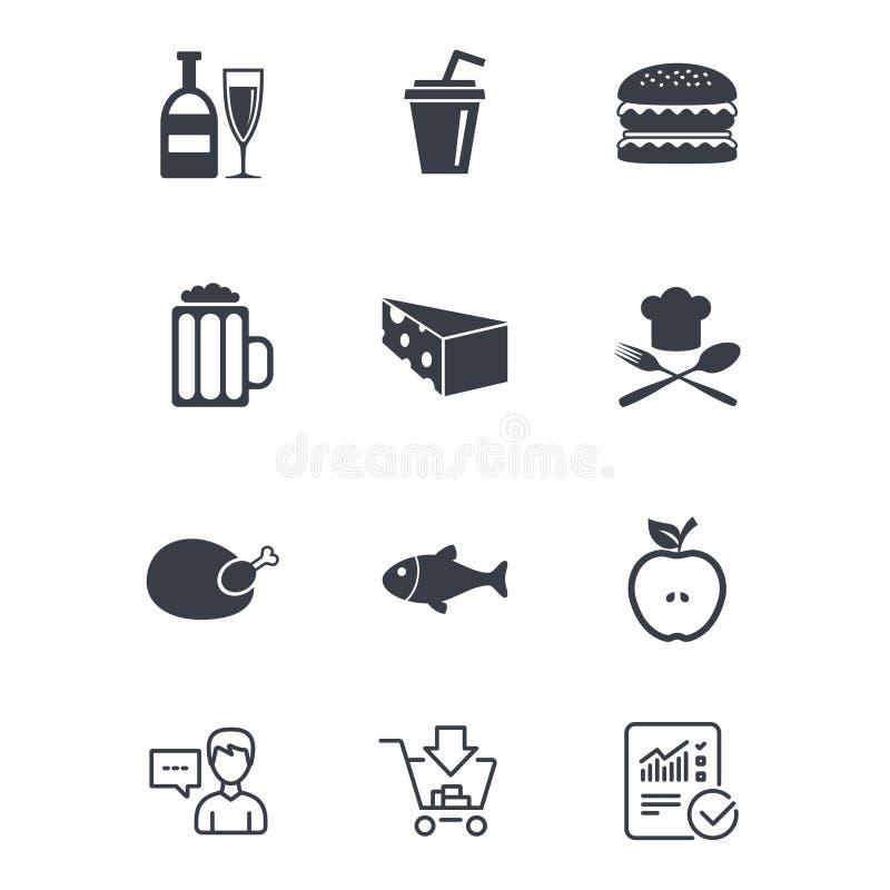 Comida, iconos de la bebida Muestras de la cerveza, de los pescados y de la hamburguesa libre illustration