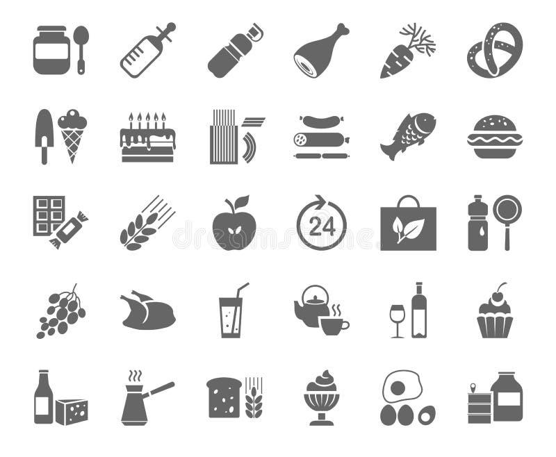 Comida, iconos monocromáticos, vector Colmado ilustración del vector