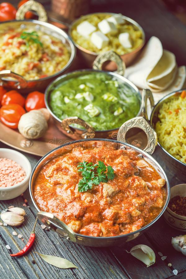 Comida india clasificada foto de archivo